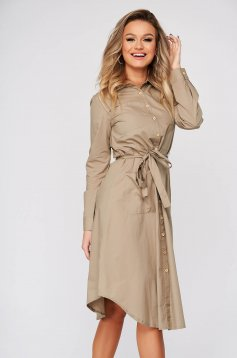 Peach dress casual midi cloche cotton long sleeved