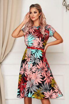 StarShinerS coral dress daily midi cloche with elastic waist accessorized with belt