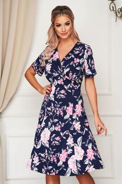 Darkblue dress midi daily cloche lycra short sleeves
