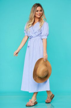 Blue dress daily cloche with elastic waist accessorized with tied waistband nonelastic cotton with chequers