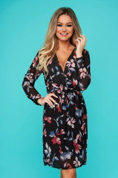 Black dress daily flaring cut with elastic waist voile fabric with floral print