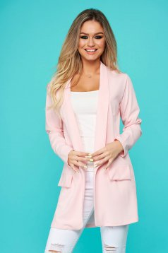 Lightpink jacket blazer long flared slightly elastic fabric