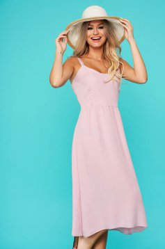 Pink dress daily straight midi with rounded cleavage nonelastic cotton