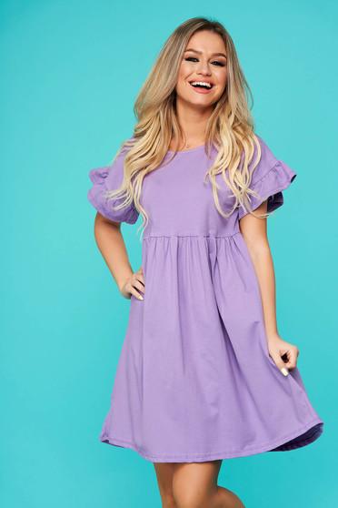 Purple dress casual short cut flared