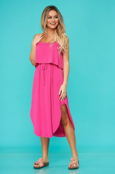 Fuchsia dress daily with elastic waist airy fabric straight sleeveless