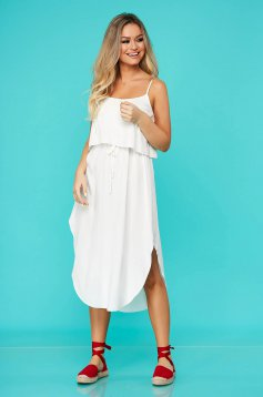 White dress daily with elastic waist airy fabric straight sleeveless