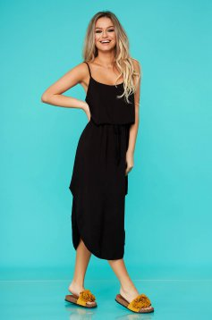 Black dress daily with elastic waist airy fabric straight sleeveless