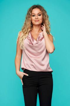 Top SunShine roz prafuit elegant cu croi larg din material satinat