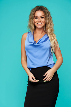 Blue top shirt elegant flared from satin fabric texture