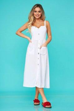 White dress casual midi nonelastic cotton with button accessories