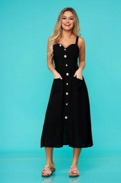 Black dress casual midi nonelastic cotton with button accessories