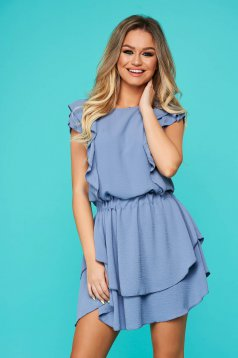 Blue dress daily flaring cut with elastic waist with ruffle details