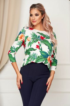 Green women`s blouse office flared with rounded cleavage