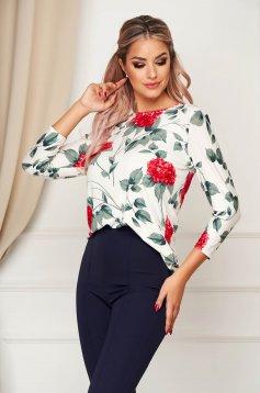 Bluza dama Lady Pandora alba office cu croi larg cu decolteu rotunjit