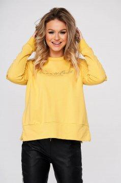 Bluza dama Top Secret galbena casual cu croi larg din bumbac neelastic