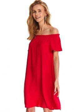 Pink dress daily flared off-shoulder short sleeve