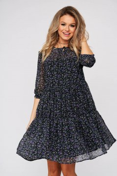 Black dress daily flared 3/4 sleeve voile fabric