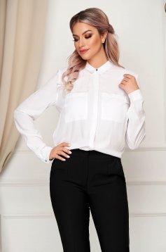 White women`s shirt basic flared long sleeve airy fabric