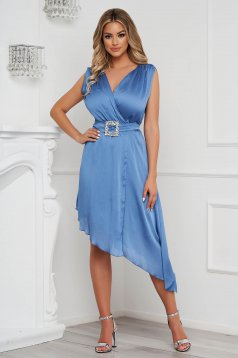 Blue dress elegant asymmetrical cloche voile fabric allure of satin accessorized with tied waistband
