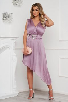 Lightpink dress elegant asymmetrical cloche voile fabric allure of satin accessorized with tied waistband