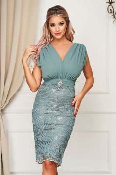 Dress lightgreen occasional midi pencil with v-neckline voile fabric from laced fabric