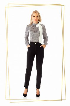 Black trousers office conical medium waist with tented cut cloth