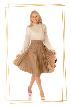Cappuccino skirt elegant cloche high waisted folded up accessorized with belt