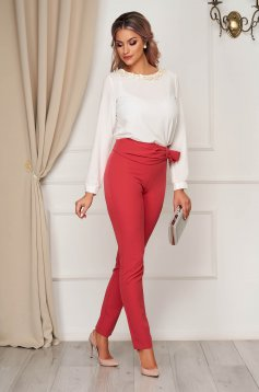 Coral trousers elegant conical with tented cut high waisted slightly elastic fabric