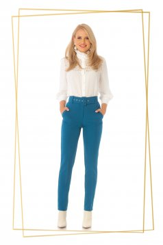Turquoise trousers office conical high waisted slightly elastic fabric accessorized with belt