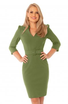 Green dress office midi pencil with v-neckline accessorized with belt