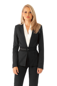 Black jacket classical blazer tented slightly elastic fabric accessorized with belt