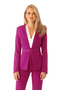 Fuchsia jacket classical blazer tented slightly elastic fabric accessorized with belt