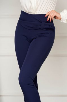 Darkblue trousers elegant conical with tented cut high waisted slightly elastic fabric