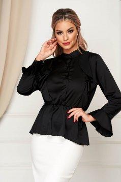 Camasa dama SunShine neagra eleganta cu croi larg din material satinat cu elastic in talie cu volanase