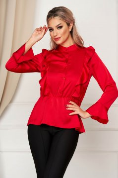 Camasa dama SunShine rosie eleganta cu croi larg din material satinat cu elastic in talie cu volanase