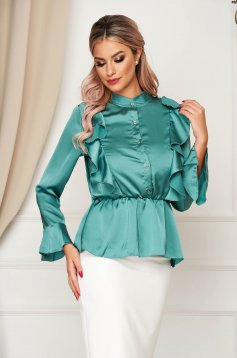 Mint women`s shirt elegant flared from satin fabric texture with elastic waist with ruffle details