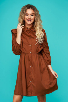 Brown dress daily flared 3/4 sleeve with ruffle details nonelastic cotton