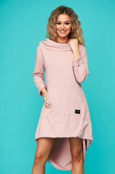 Rochie SunShine roz prafuit casual asimetrica cu croi larg din bumbac usor elastic
