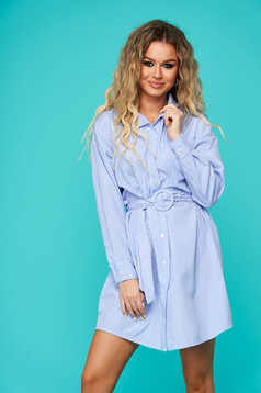Blue dress daily long sleeve short cut flared thin fabric accessorized with tied waistband