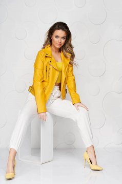 White trousers casual medium waist with elastic waist with laced details thin fabric