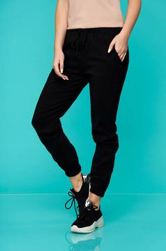 Pantaloni SunShine negri casual material subtire cu buzunare cu talie medie