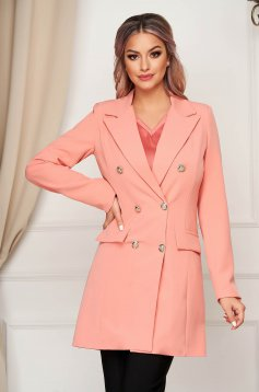 Pink jacket long flared from non elastic fabric with inside lining