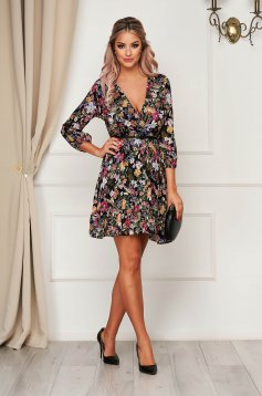 Black dress daily cloche wrap over front accessorized with belt airy fabric with floral print