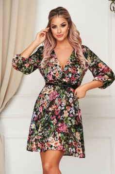 Darkgreen dress daily cloche wrap over front accessorized with belt airy fabric with floral print