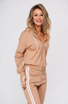 Cream sport 2 pieces casual from two pieces with trousers slightly elastic cotton