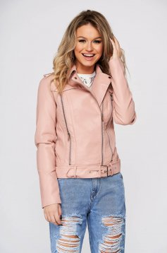 Pink casual short cut jacket from ecological leather with buckles accessories