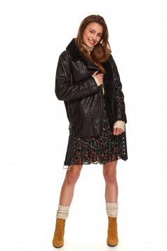 Black coat casual long straight from ecological leather with faux fur lining