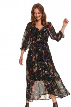Black dress daily long cloche with v-neckline from veil fabric with floral prints