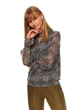 Black women`s blouse casual flared with elastic waist slightly transparent fabric