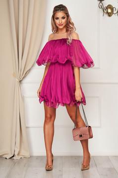 Purple dress short cut cloche off-shoulder occasional thin fabric